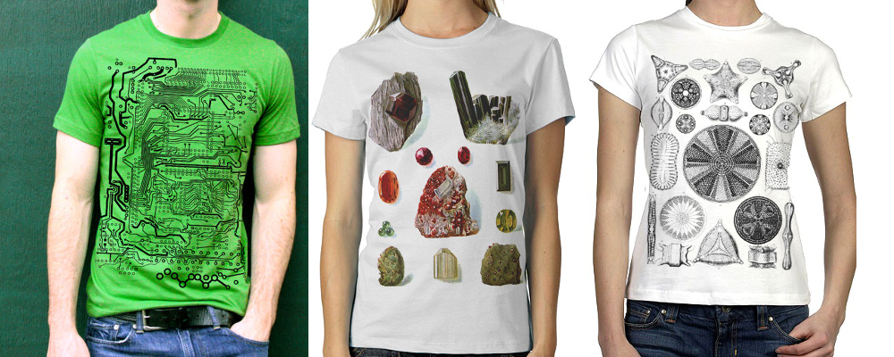 NonFictionTees. Circuit boards, minerals, and diatoms - it doesn't get better than that, folks.
