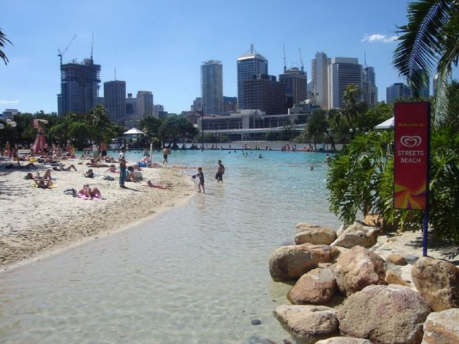 Man made beach in Brisbane