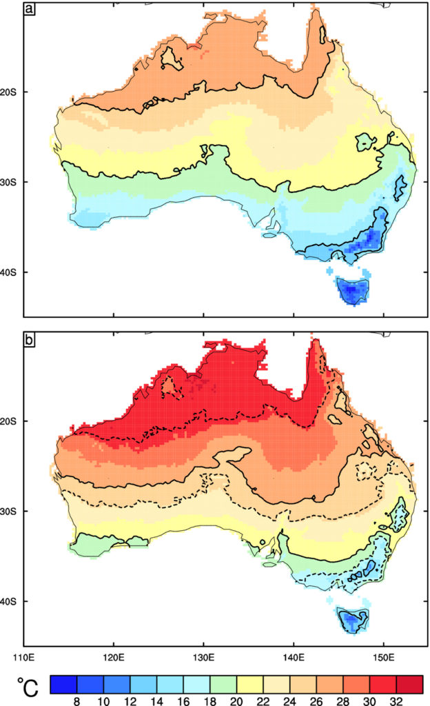Map showing climate projections