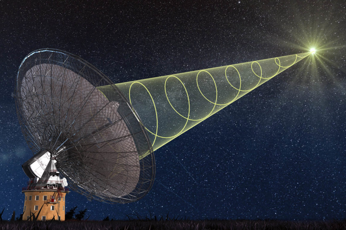 A radio antenna at night, showing a yellow graphic line spiralling into the dish from a flash of light in space; representative of receiving the polarised signal from the new 'fast radio burst' detected by CSIRO's Parkes radio telescope.