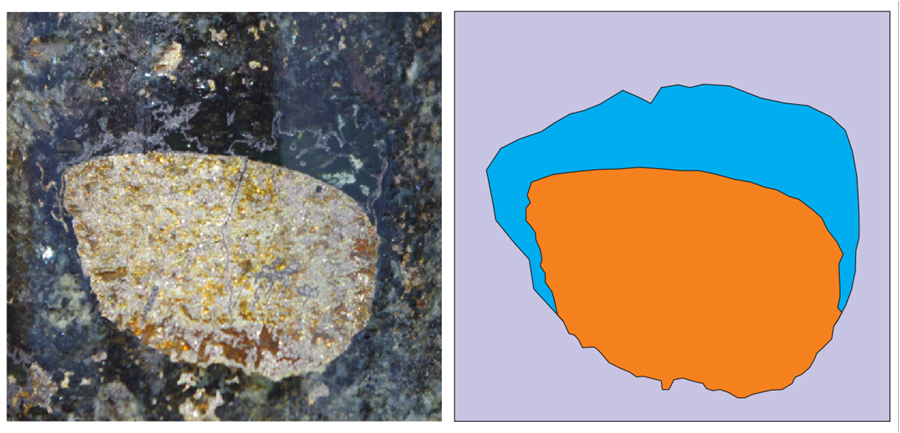 Sections of rock showing solidified suflide liguid droplet attached to a gas bubble now infilled with silica