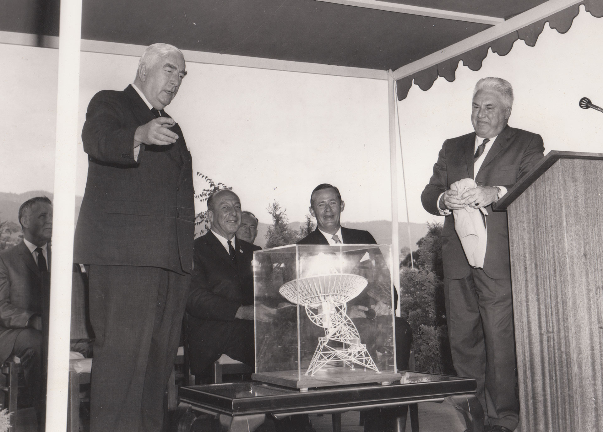 Prime Minister Robert Menzies at the opening of Tidbinbilla DSIF42. 19 March 1965. Image:CDSCC