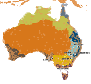 Some of Melbourne's climate analogues for 2090 under a high emission scenario