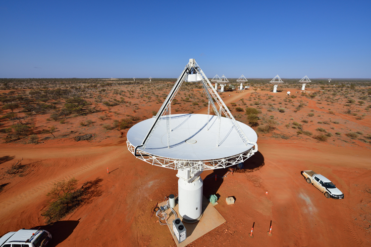 An elevated view of our ASKAP antennas at the Murchison Radio-astronomy Observatory. Credit: CSIRO.
