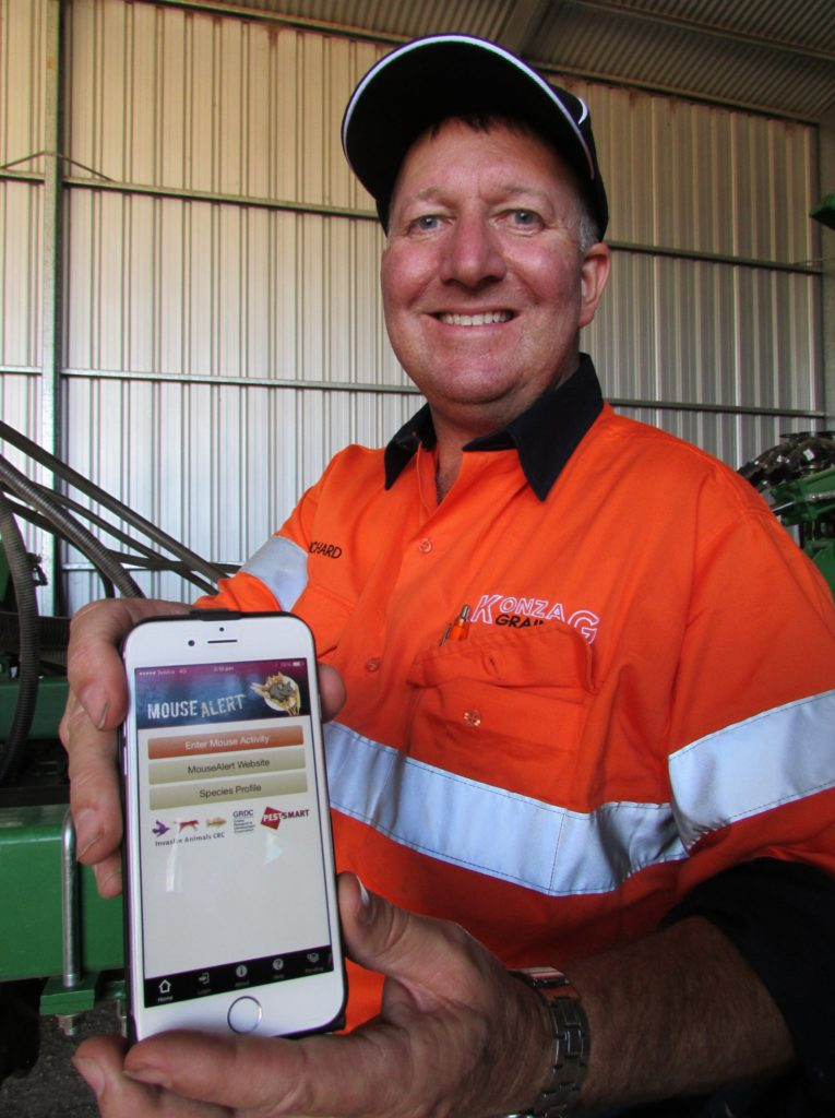 Grain grower Richard Konzag, of Mallala in South Australia, says recording information about mouse numbers and activity on his property via the MouseAlert app was a simple but important exercise. Image credit: Grains Research and Development Corporation