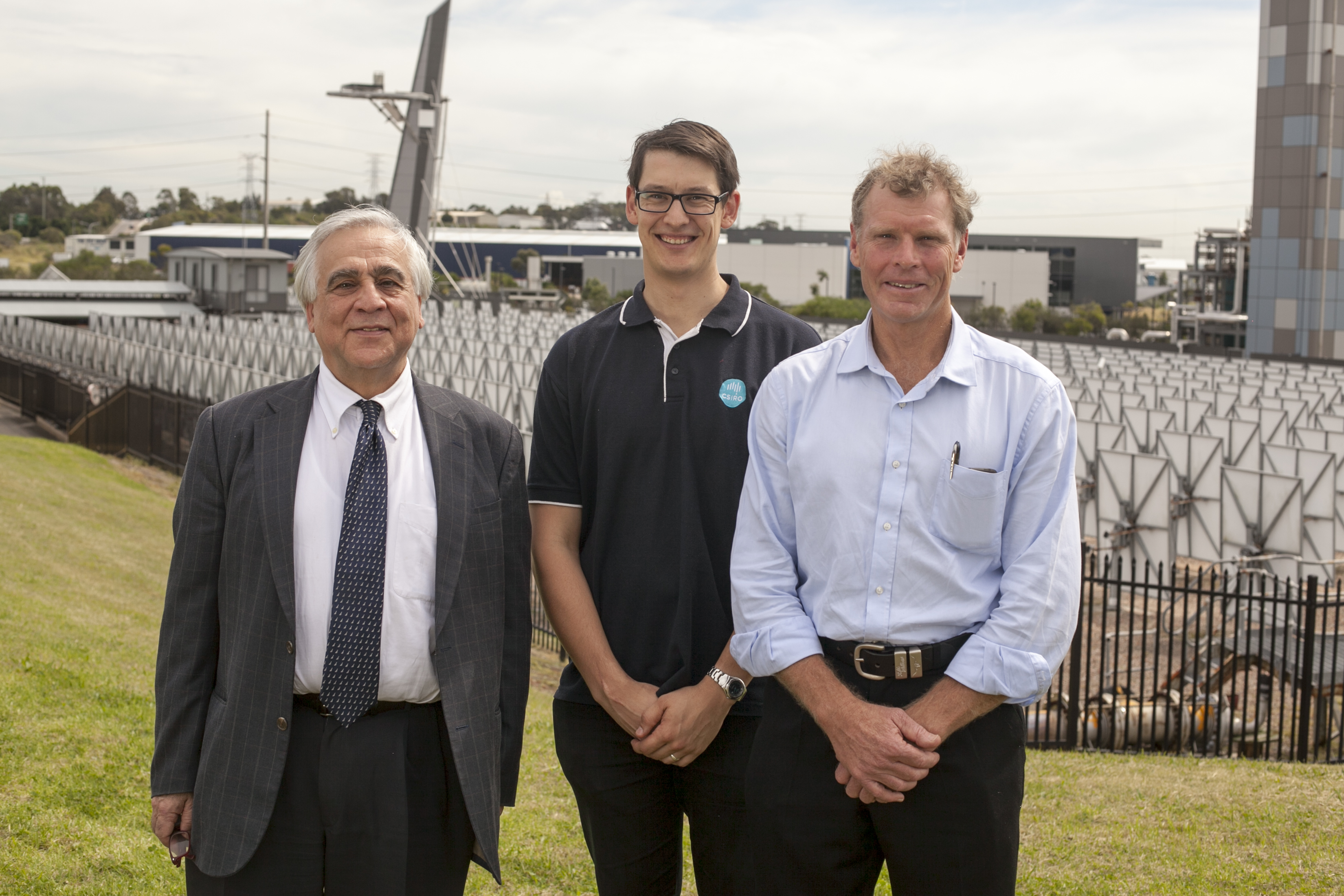 The Solar field of dreams and the dreamers. From left to right: Professor Costas Papanicolas, President of the Cyprus Institute, Mike Collins, CSIRO Mechanical Engineer, Wes Stein, CSIRO Solar Research Leader