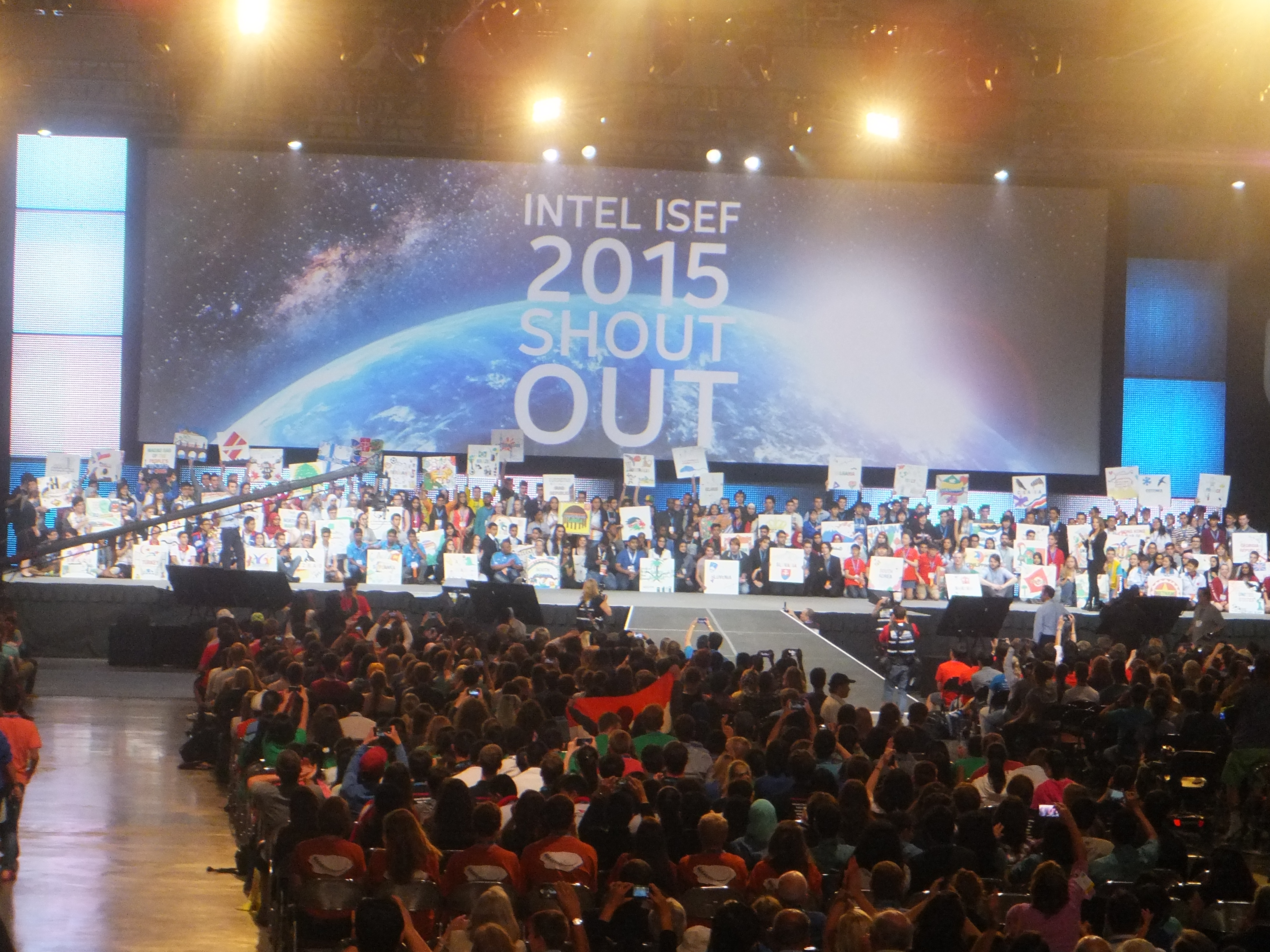 Students on stage at ISEF