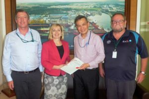 (l to r) Stephen McCullum, Toni Moate, Samuel Wong (General Manager, Engineering and Offshore Conversion) Tony Fielding