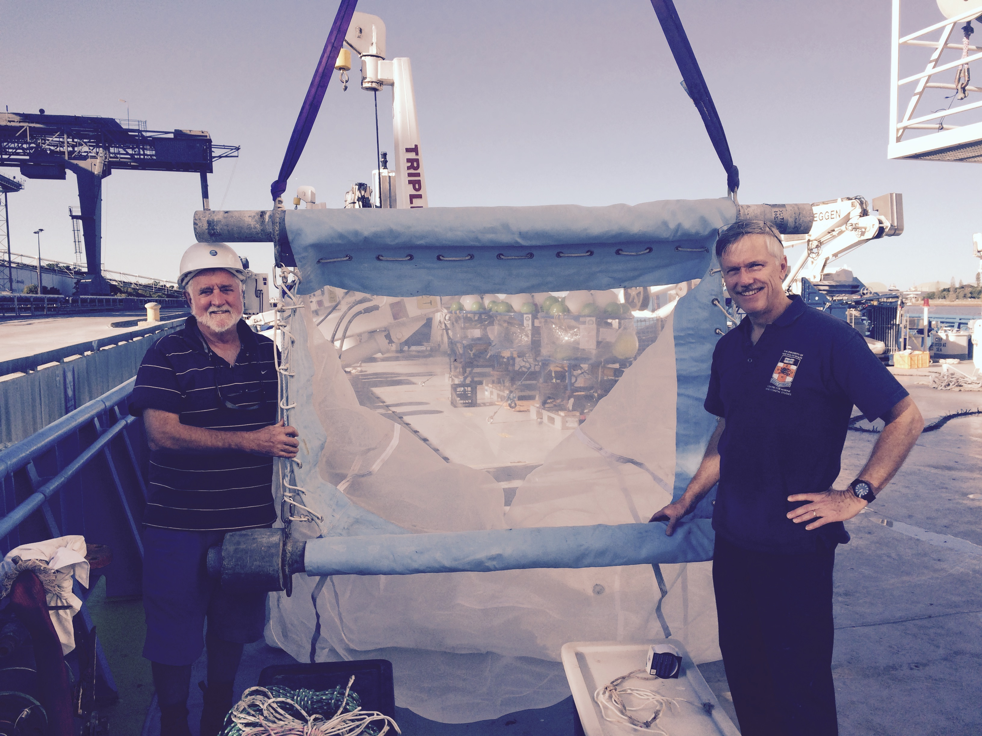Professor Iain Suthers and Dr Brian Griffiths on board Southern Surveyor