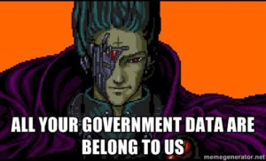 Words 'All your government data are belong to us' over an image from Zero Wing.