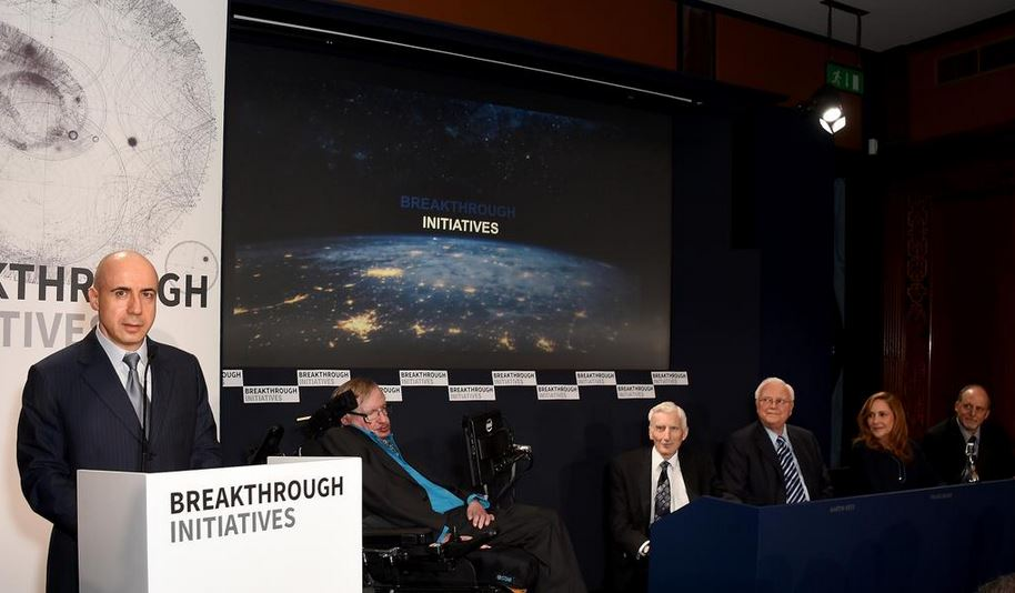 Yuri Milner and Stephen Hawking at the press conference in London.