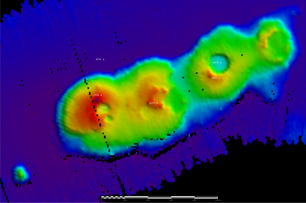 A heat map shows craters below the ocean.