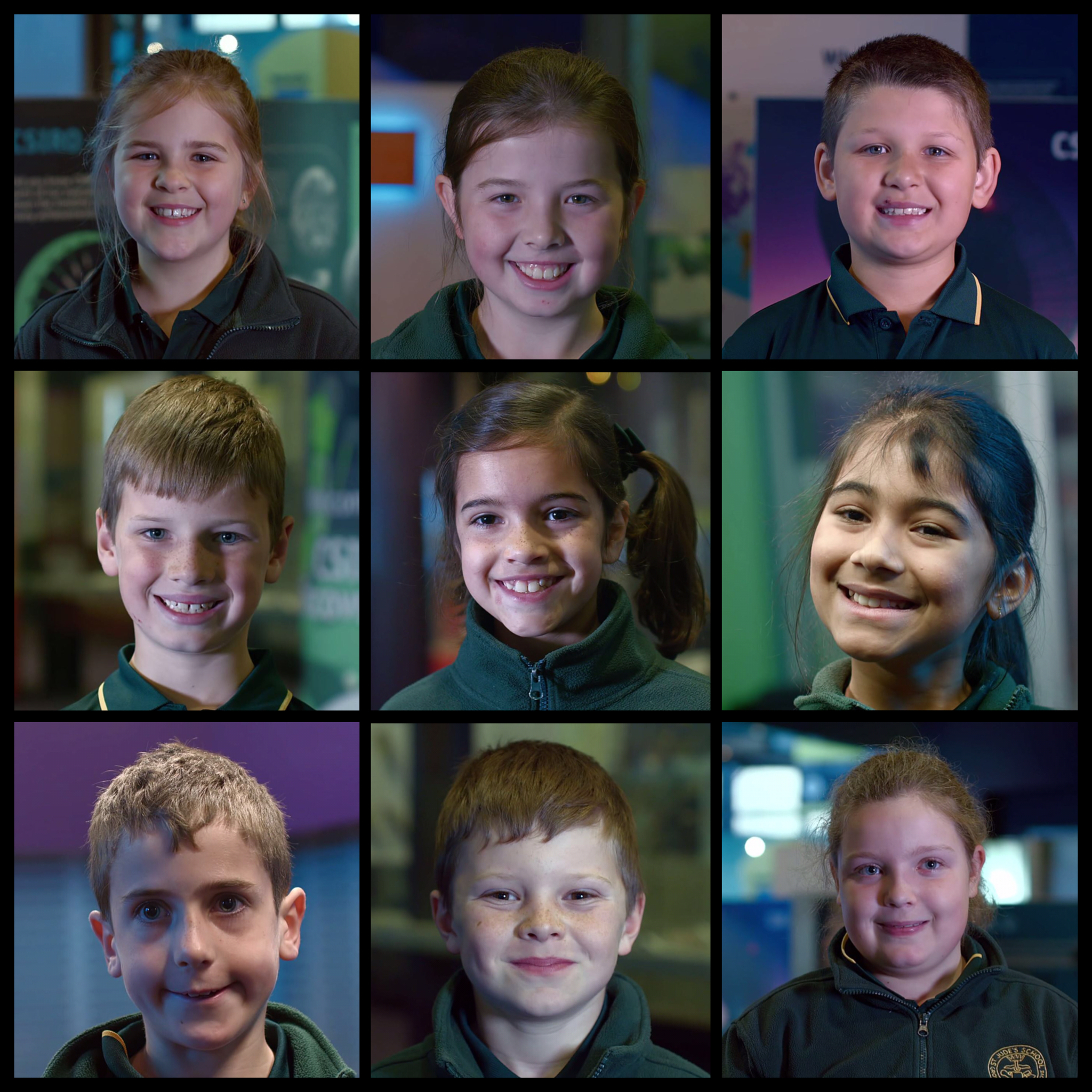 Headshots of nine primary school students arranged in a grid.