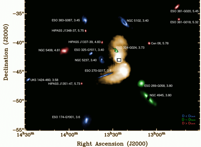 The giant radio lobes of Cen A. For scale, the entire image at the top of the article fits within the small black box shown here in the centre the two lobes. Megan Johnson, Author provided