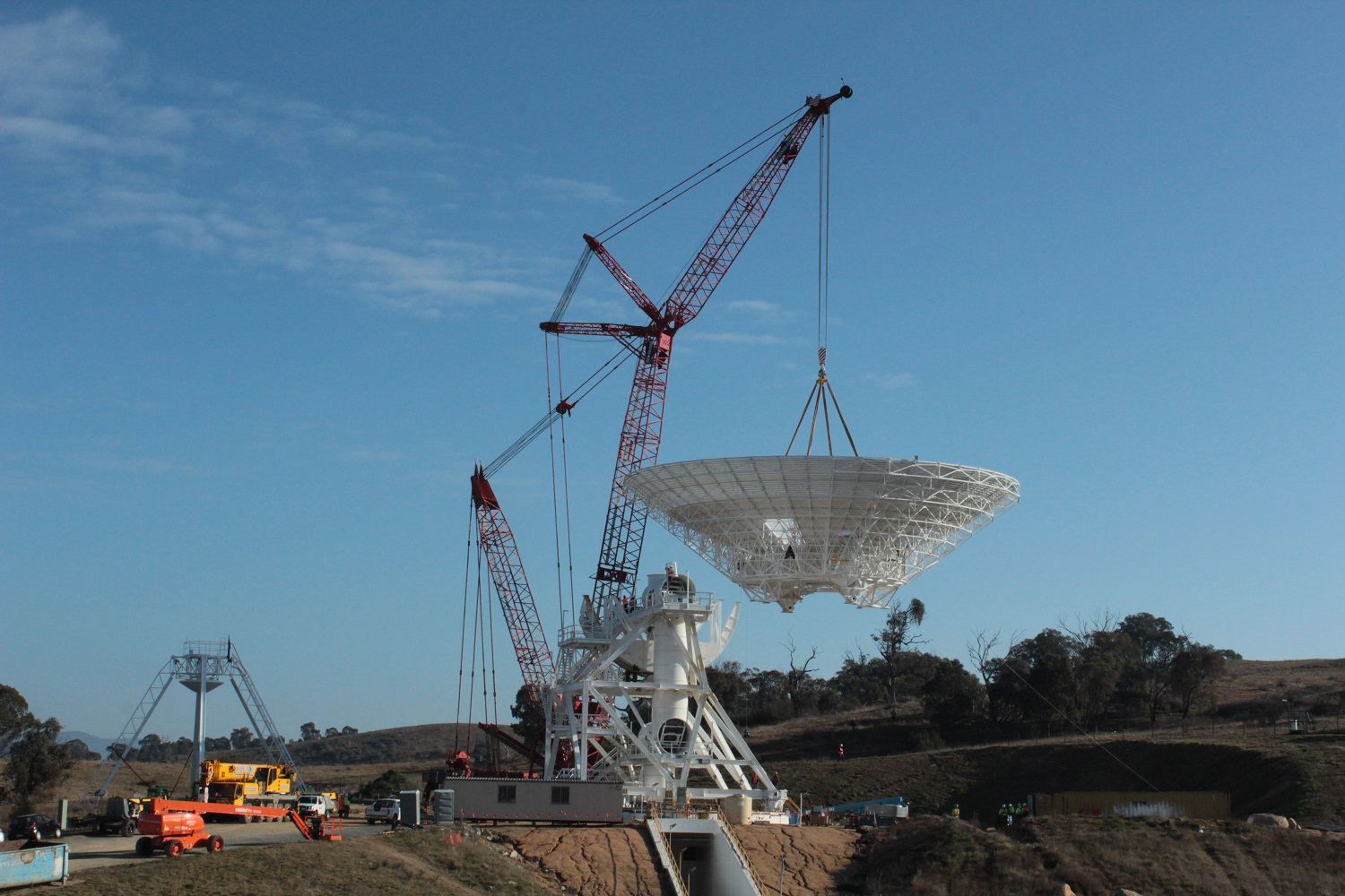 The new dish being installed.