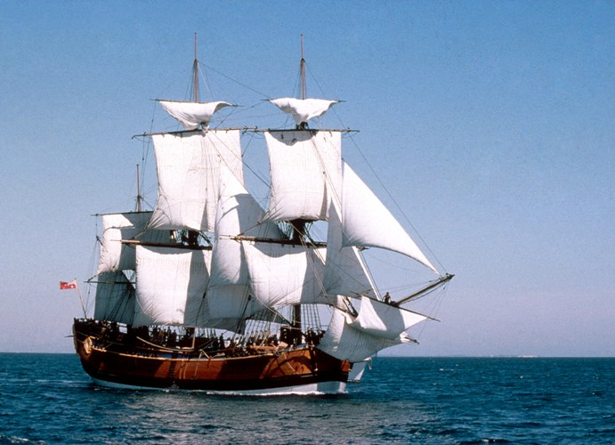 A picture of the Endeavour ship at sail