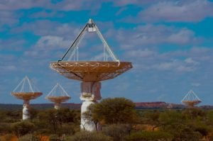 Daytime view of five of the dishes that are part of the Australian Square Kilometre Array Pathfinder (ASKAP) - a next-generation radio telescope in remote Western Australia