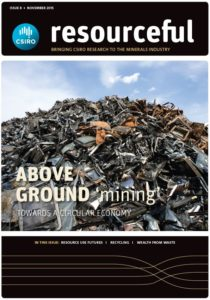 Cover of Issue 8 of resourcful magazine showing image of a large pile of scrap metal with the issue title 'above ground ming - towards a circular economy