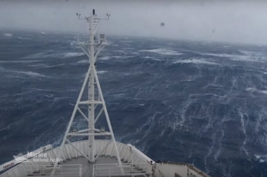 The RV Investigator battles the cold, wild conditions of the Southern Ocean.