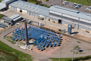 One of our two solar thermal towers at our Newcastle energy centre.