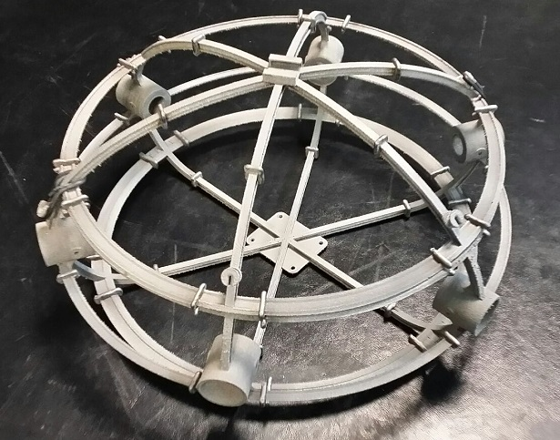 The spherical body of the drone, made up of individual parts