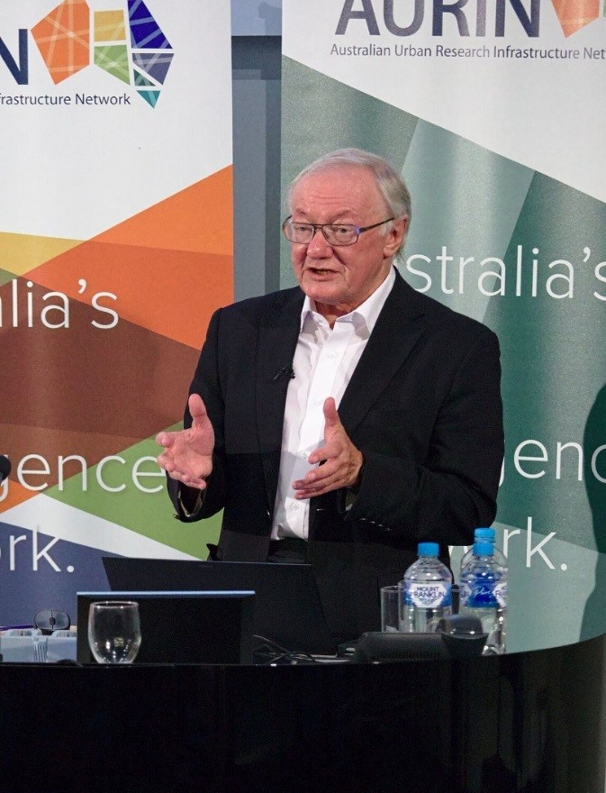In action-Professor Mike Batty during a lecture at the University of Melbourne.