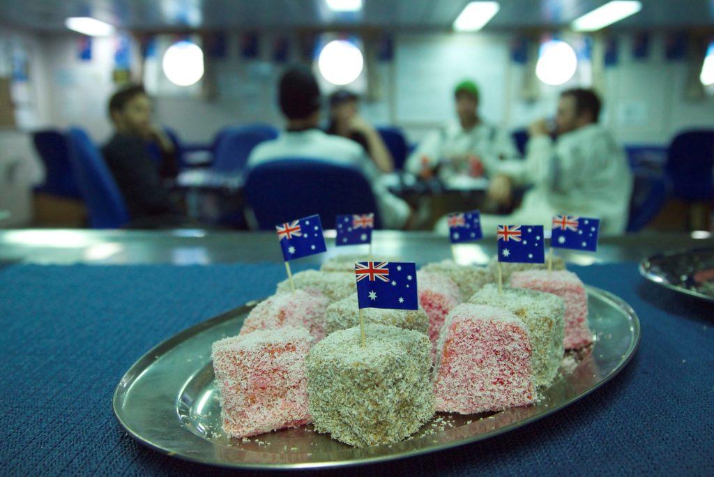 Crew enjoying Aust Day flagged lamingtons