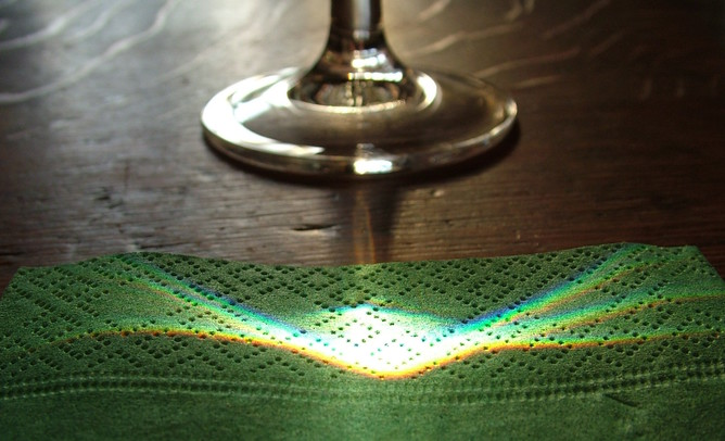 Note the differing colours from the light through the wineglass. Image credit - Anataman, Flickr.