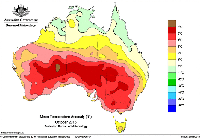 October 2015 warmest on record with largest temperature anomaly. Image credit - Australia Bureau of Meteorology