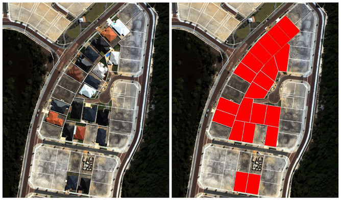 Blocks of land that been built on (marked in red) can easily be identified to monitor urban infill.