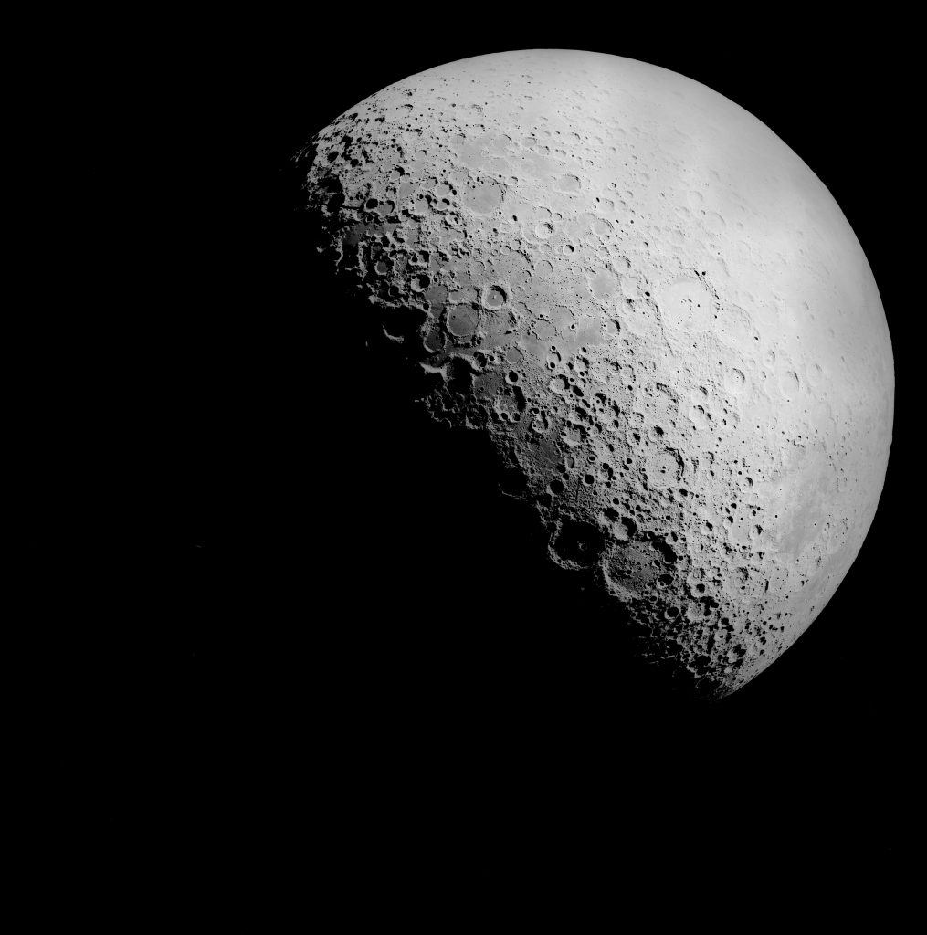 The moon can be used to help in the hunt for high energy particles. Image credit: NASA JSC Electronic Imagery