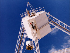 The CSIRO Parkes telescope's 13-beam receiver being lifted into the telescope's focus cabin. Each of the instrument's 13 holes 'sees' a separate spot on the sky. CSIRO, Author provided