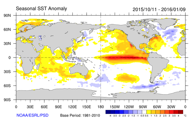 Sea surface temperature anomalies, Oct-Dec 2015 showing the characteristic El Niño pattern of increases across the central to eastern Pacific. Image credit - NOAA