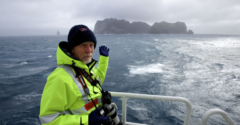 Professor Richard Arculus, the ship's keenest photographer, in his element. It was difficult to convince him to come inside every now and again and defrost his fingers.
