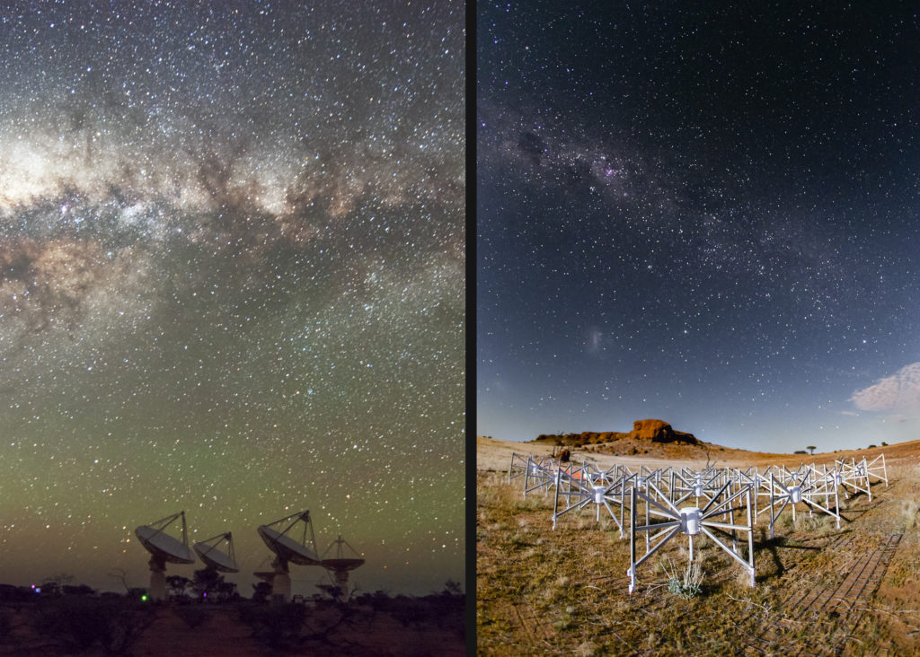 Two radio telescopes under the Milky Way in an outback location.