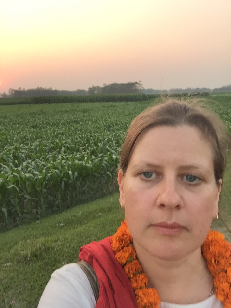 Alison Laing standing in front of corn field