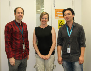 BOP Molecule images for Media Release The ARMI research team behind the small molecule discovery. From left to right: CSIRO's Dr Chad Heazlewood, Dr Susie Nilsson and Dr Ben Cao. Credit: CSIRO