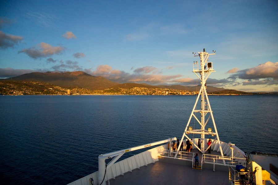 The RV Investigator ship approaching the CSIRO dock at Hobart.