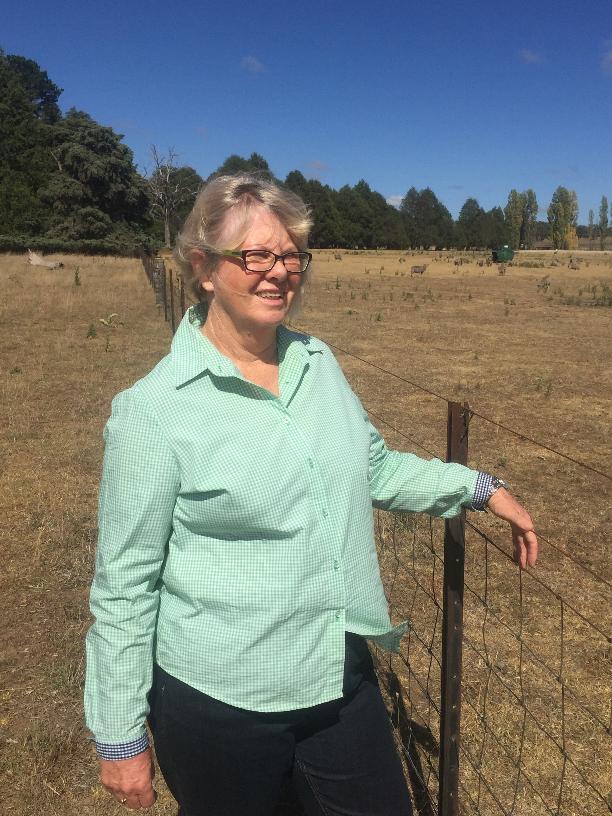 Heather Brewer standing at farm fence