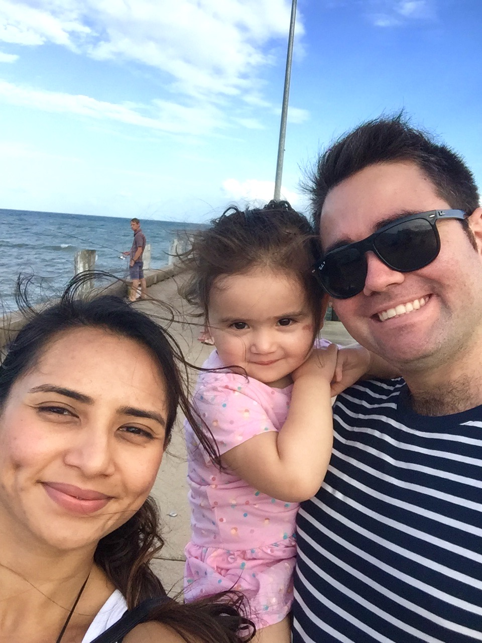 Lydia Lopes enjoying time with her family on the pier.