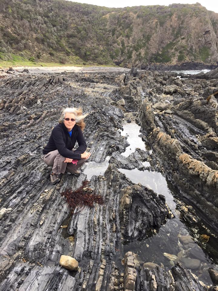 Sherry Mayo at a rocky coastline