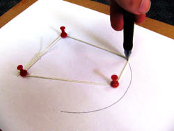 Drawing an egg shape using string and drawing pins