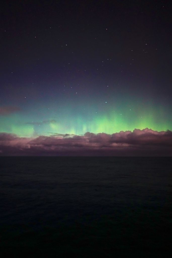 Aurora Australis puts on a stunning show over the Southern Ocean, as seen from the Investigator.