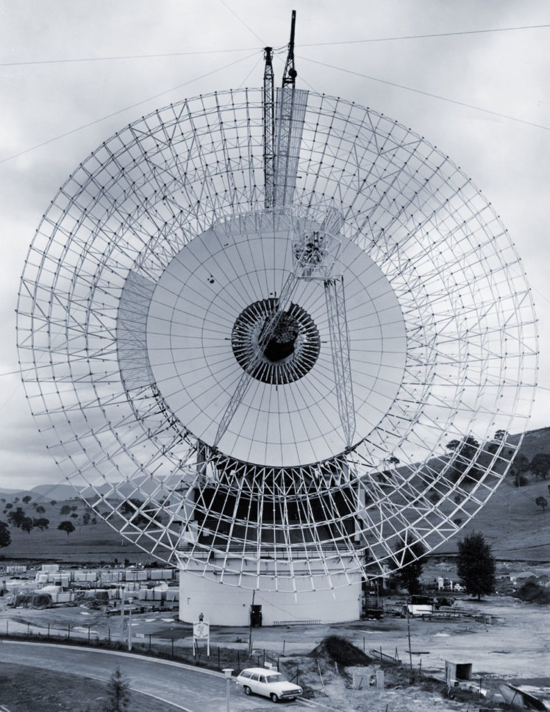 DSS43 under construction at the Canberra Deep Space Communication Complex in 1971.