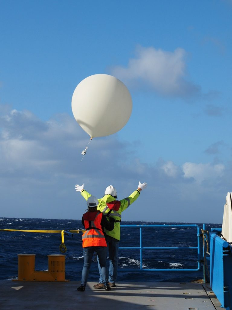 Radiosonde weather balloon goes up, up and away.