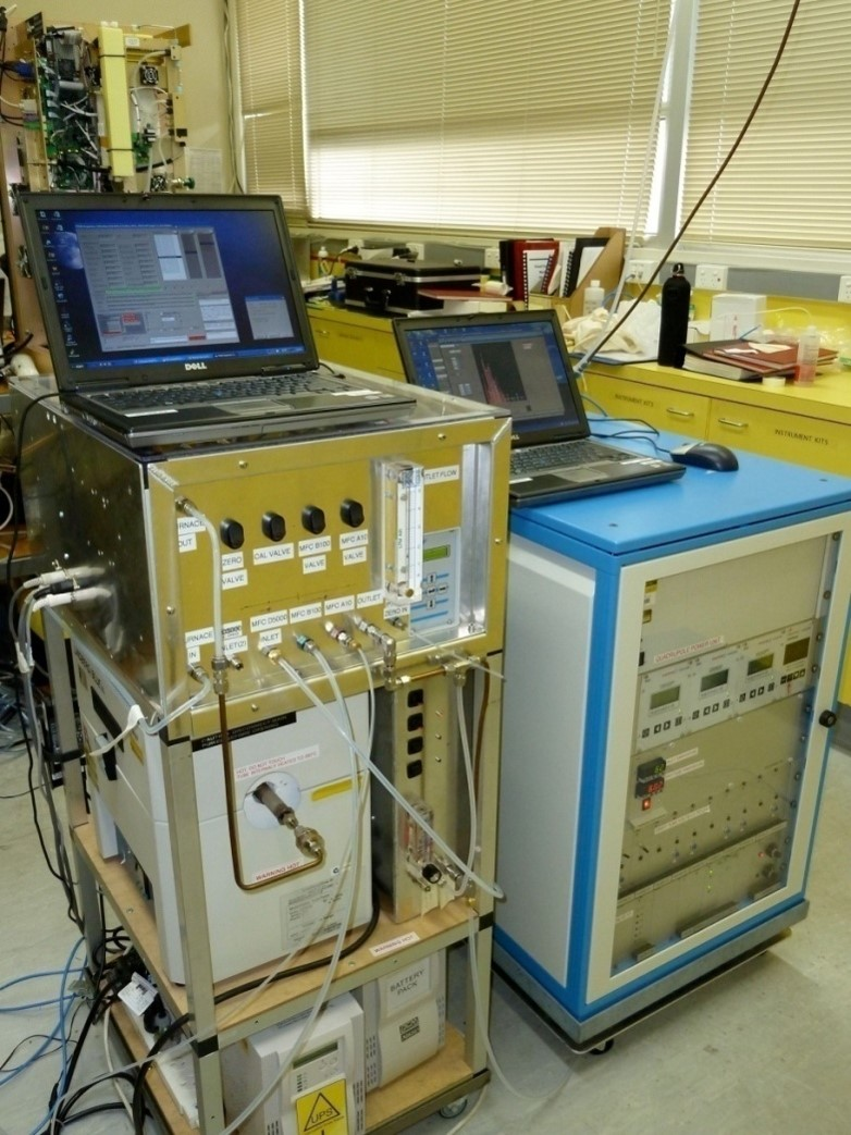 Air pollution is monitored using a mass spectrometer.