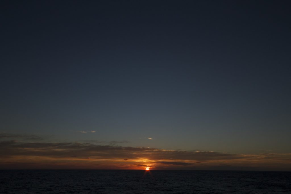 Sunset over the sea, taken from onboard RV Investigator on its geoscience trial voyage in May 2015