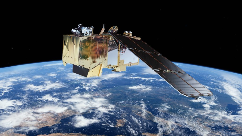 A visualisation of Sentinel-2 satellite in space. © ESA/ATG medialab