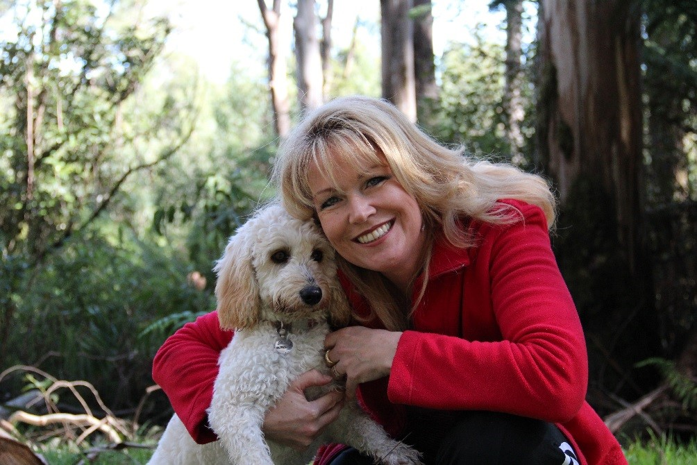 Glenda Harry with her dog Ruby at Wye River.
