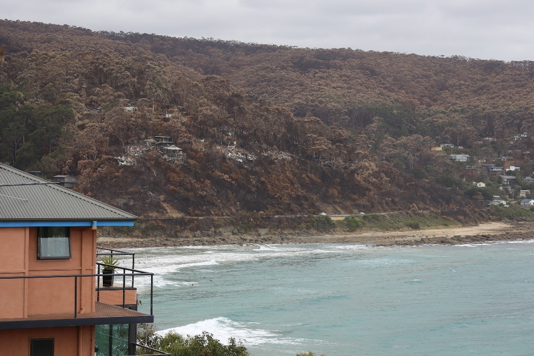 Starting on Christmas Day 2015, fire tore through Wye River and Separation Creek in Victoria. The left half of the photo is Wye River and the right half is Separation Creek.